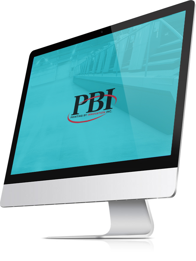 A Mac desktop with the PBI logo displayed.