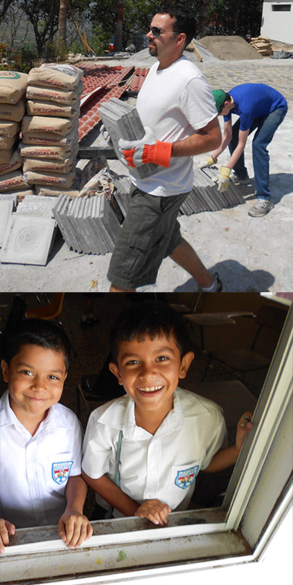Two Hope of Life candid photos. Above: Len Larose, CEO of PBI, carrying cement tiles. Below: Two young boys smiling.